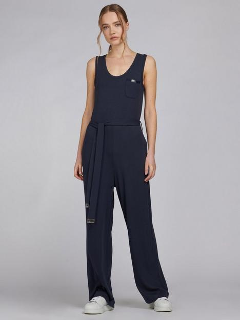 barbour-international-sugo-tie-waist-jumpsuit-blue