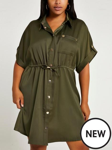 ri-plus-waisted-shirt-mini-dress-khaki
