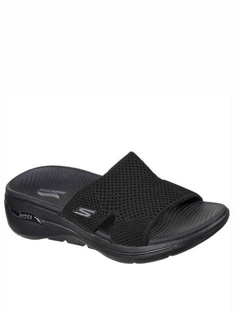 skechers-go-walk-arch-fit-knit-wedge-sandal-black