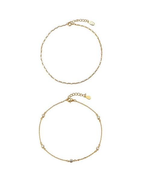 the-love-silver-collection-2pk-gold-plated-sterling-silver-anklets