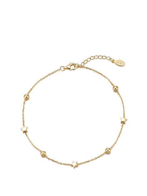 the-love-silver-collection-gold-plated-sterling-silver-star-anklet