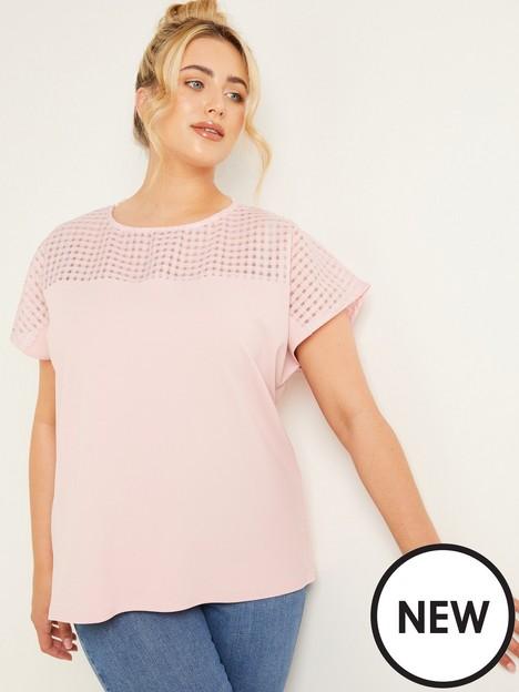 quiz-curve-check-organza-yoke-detail-top-pink