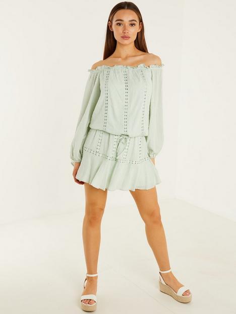 quiz-woven-bardot-crochet-trim-balloon-sleeve-top-sage