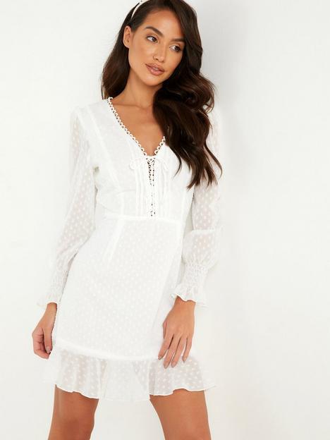 quiz-chiffon-dobby-tie-front-mini-dress-white