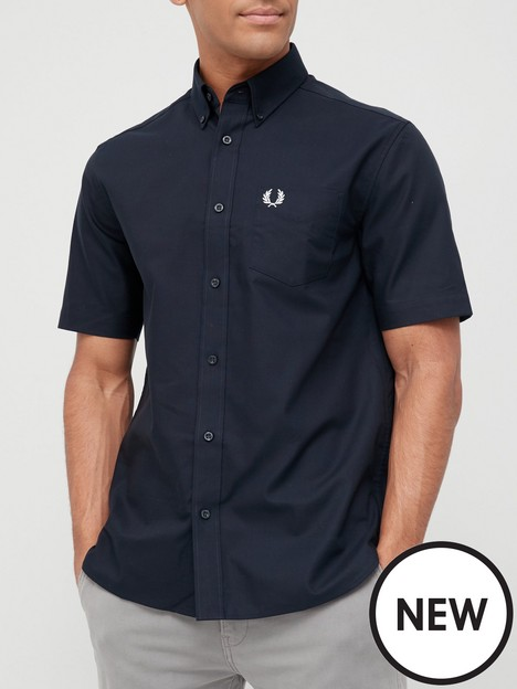 fred-perry-short-sleeve-oxford-shirt-navy