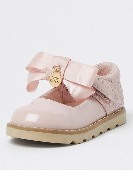 river-island-mini-mini-girls-patent-bow-shoe-pink