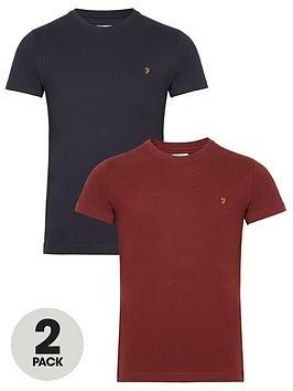 farah-organic-cotton-t-shirts-2-pack-rednavynbsp