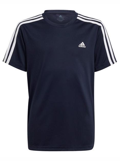adidas-junior-boys-3-stripes-t-shirt-navywhite