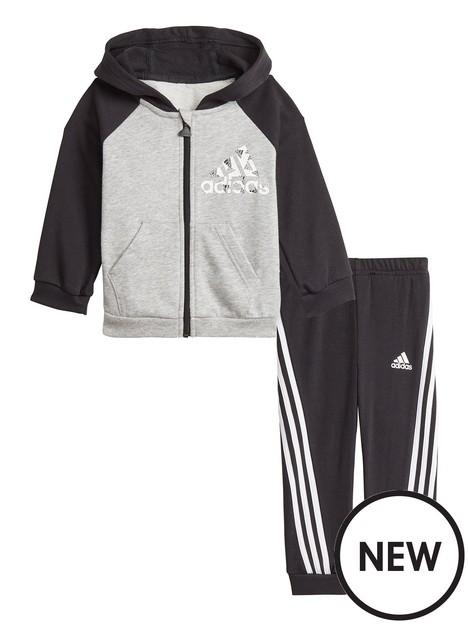 adidas-infant-unisex-badge-of-sport-full-zip-hood-amp-jog-pant-set-blackgrey