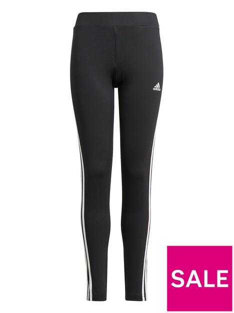 adidas-junior-girls-3-stripes-tight-blackwhite