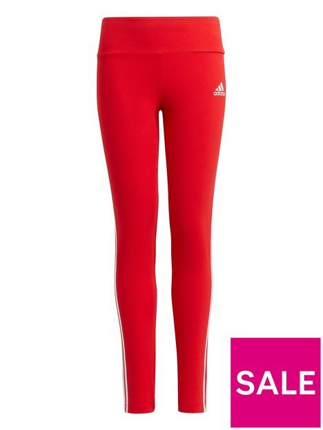 adidas-junior-girls-3-stripes-tight-redwhite