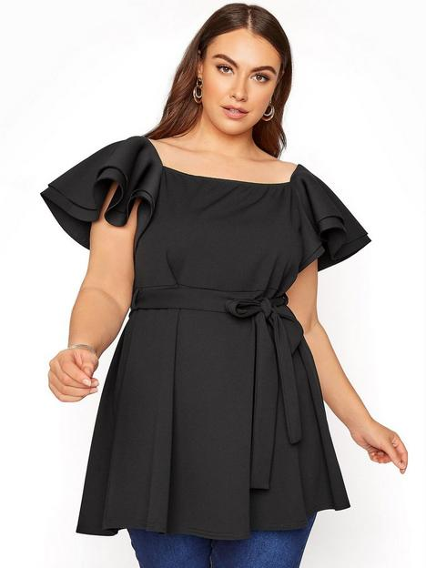 yours-yours-london-statement-sleeve-peplum-top-black