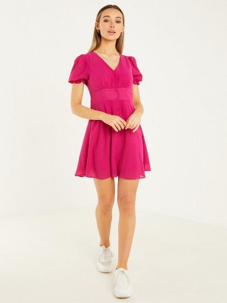 quiz-quiz-magenta-tonal-check-button-detail-skater-dress