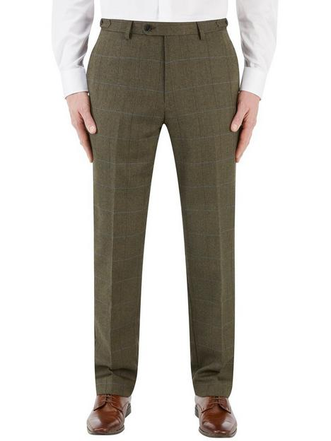 skopes-bramwell-tailored-fit-country-check-trouser-olive