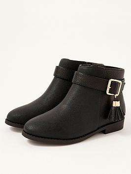 monsoon-girls-buckle-strap-tassle-boots-black