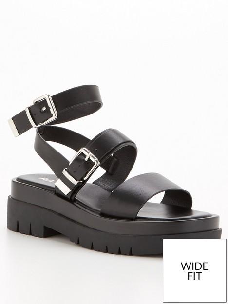 raid-winter-wide-fit-flat-sandals-black