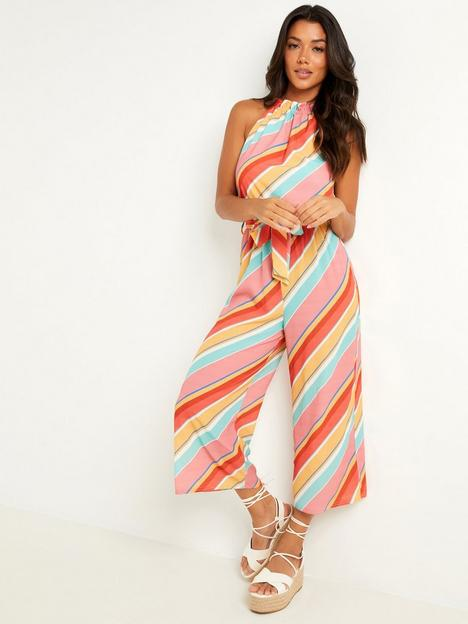 quiz-multi-stripe-high-neck-tie-belt-culotte-jumpsuit-multi