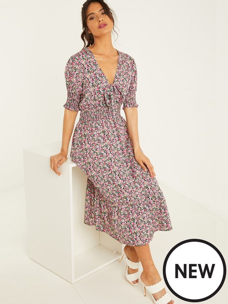 quiz-tie-front-shirred-midi-dress-ditsy-floral-print