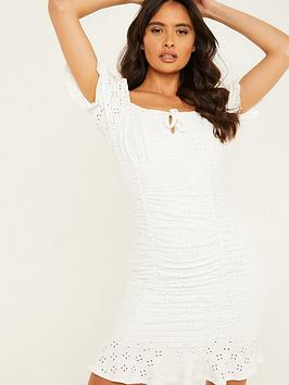 quiz-tie-detail-ruched-broderie-anglaise-bodycon-dress-cream