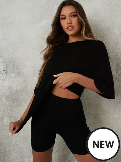 missguided-missguided-coord-oversized-t-shirt-cycle-short-set