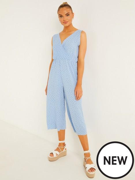 quiz-polka-dot-wrap-tie-back-jumpsuit-pale-blue