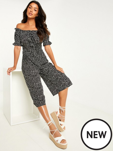 quiz-polka-dot-bardot-culotte-jumpsuit-black