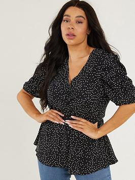 quiz-curve-polka-dot-button-detail-top-black-and-white