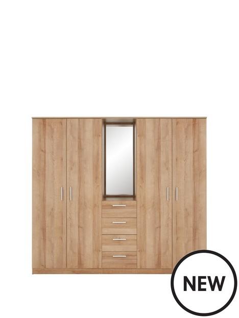 panama-4-door-4-drawer-combi-fitment-wardrobe-with-mirror