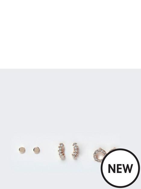 river-island-river-island-3-pack-diamante-stud-earrings-gold