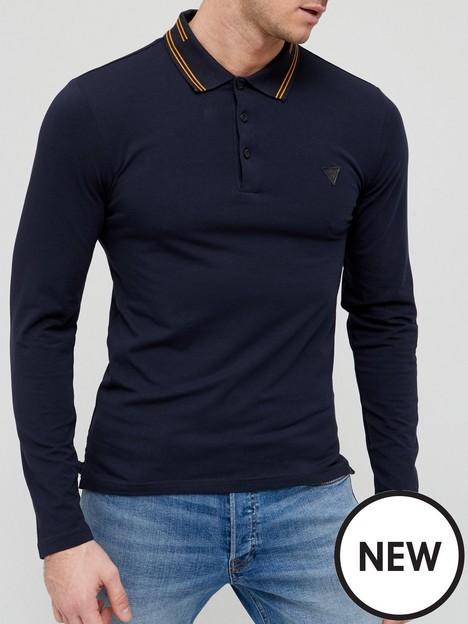 guess-long-sleeve-polo-shirt-navy