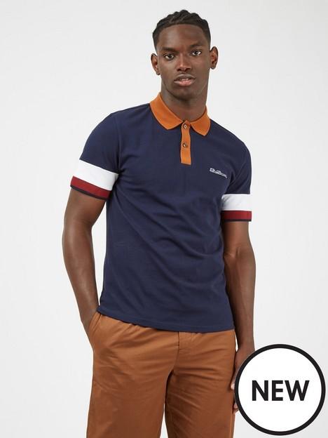 ben-sherman-colour-block-polo-shirt-marinenbsp