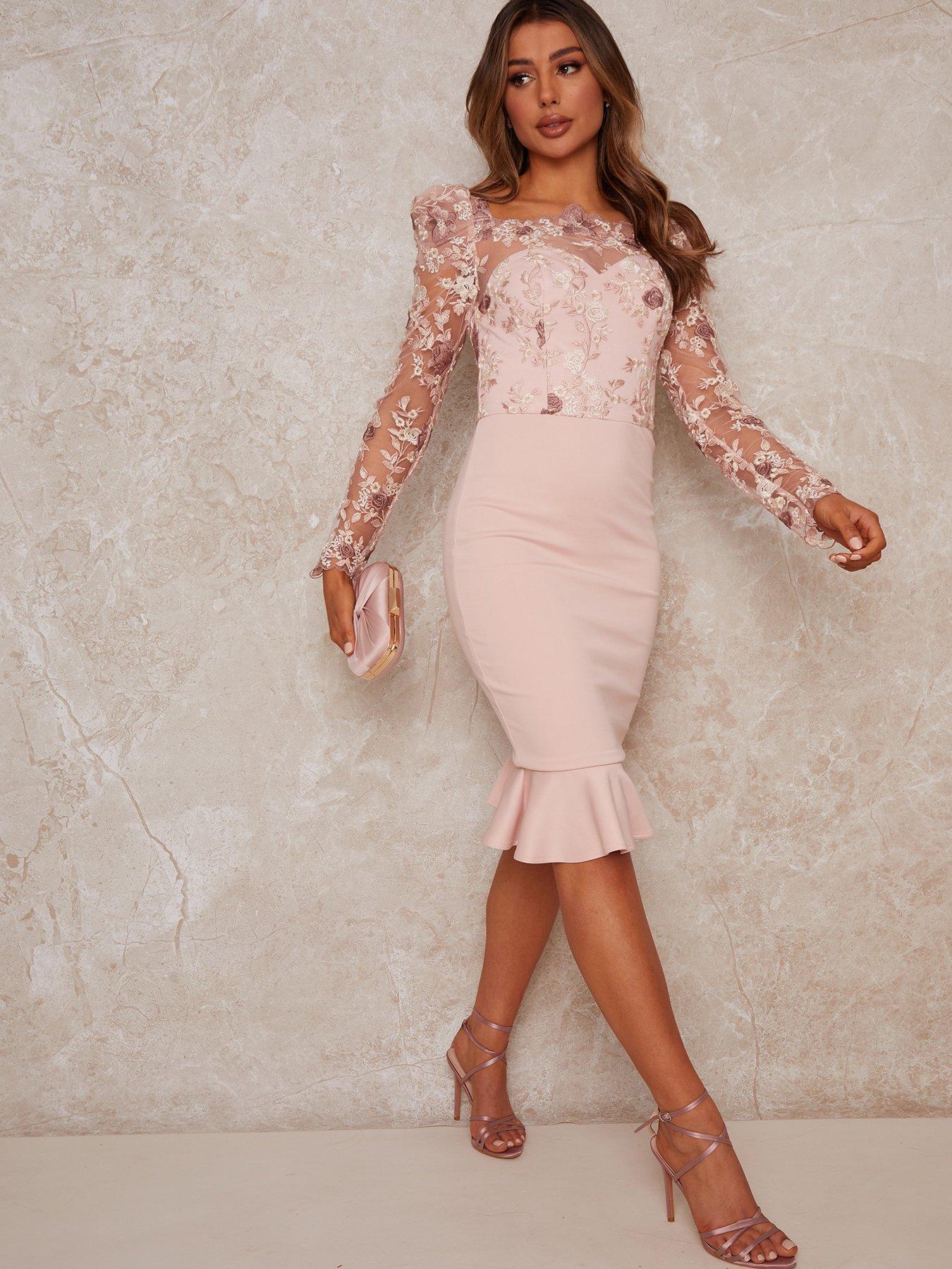 Chi Chi London Peplum Embroidered Lace Bodycon Dress - Mink