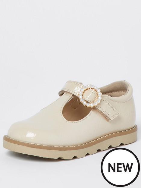river-island-mini-mini-girls-patent-monogram-shoe-cream