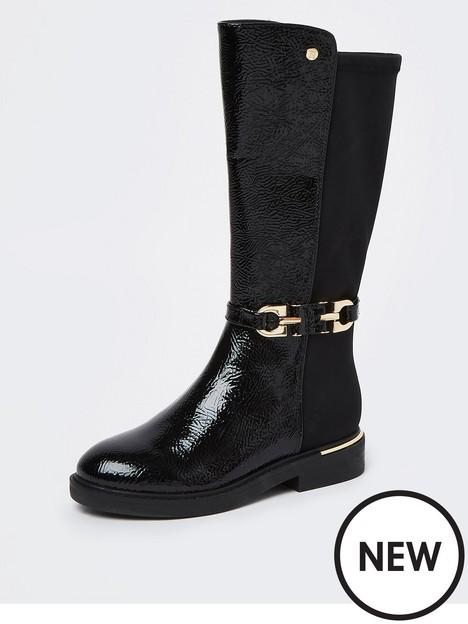 river-island-girls-paten-trim-tall-boot-black