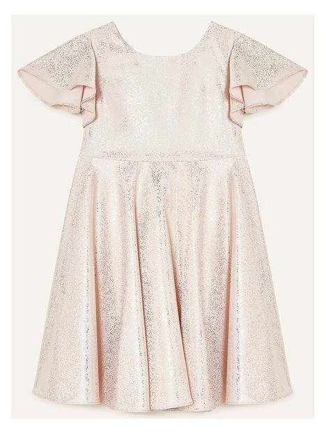 monsoon-girls-gold-foil-spot-flutter-sleeve-dress-rose-gold