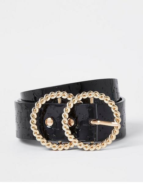 river-island-twist-ring-embossed-logo-belt-black