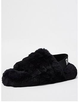 river-island-chunky-elastic-mule-slipper-black