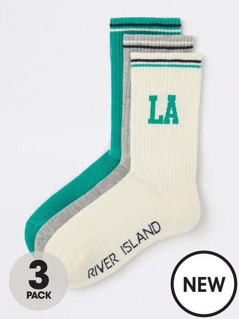 river-island-river-island-la-sports-3-pack-socks-beige