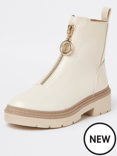 river-island-wide-fit-zip-front-chunky-boot-beige