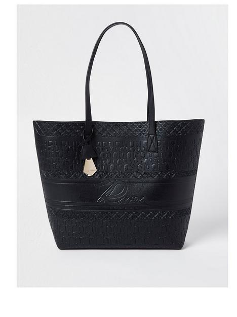 river-island-embossed-river-shopper-bag-black