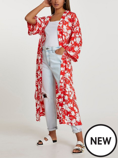 river-island-floral-printed-longline-kimono-red