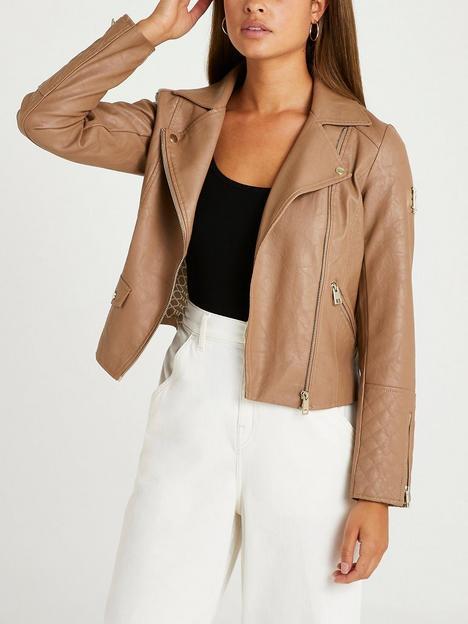river-island-branded-pu-biker-jacket--beige