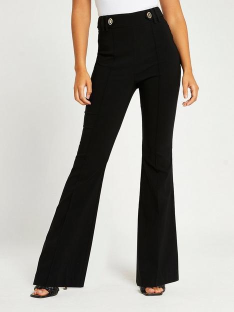 river-island-bootcut-button-tab-trouser-black