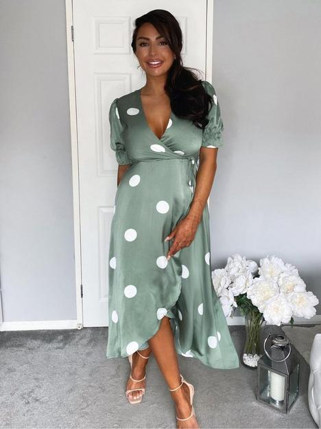 ax-paris-dot-print-wrap-over-midi-dress-green