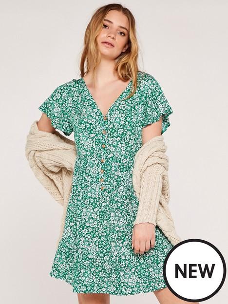 apricot-ditsy-button-down-tea-dress