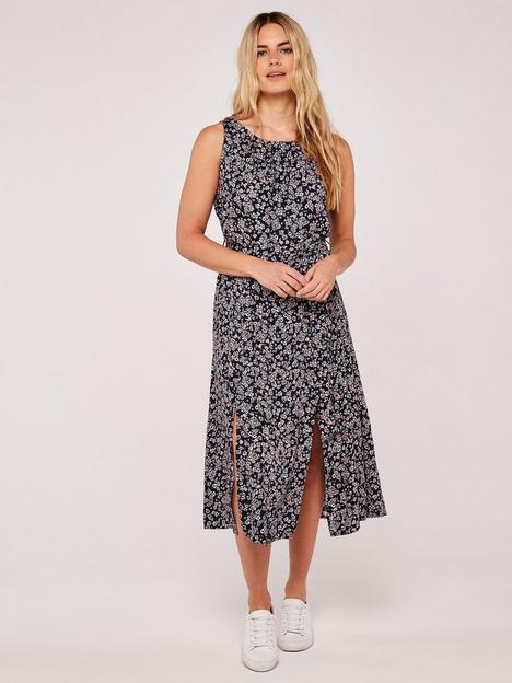 apricot-ditsy-slit-side-midi-dress