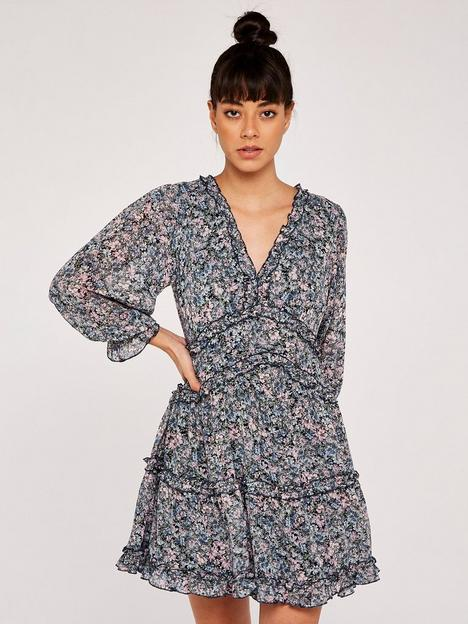 apricot-floral-dress-with-ruffle-detail