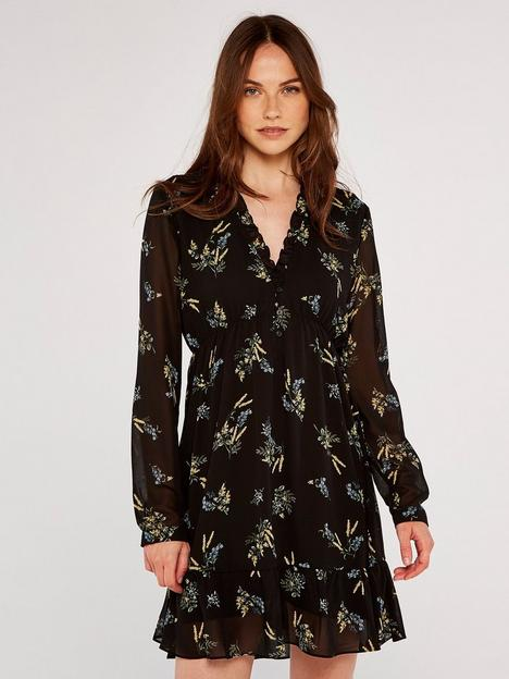 apricot-floral-bunches-ditsy-ruffle-dress-black