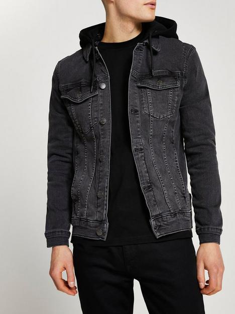 river-island-hooded-muscle-fit-denim-jacket-black