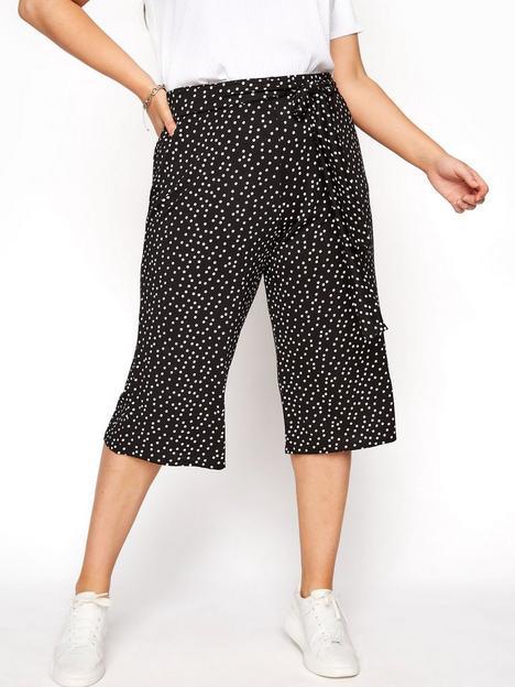 yours-yours-tie-waist-spot-culotte-black